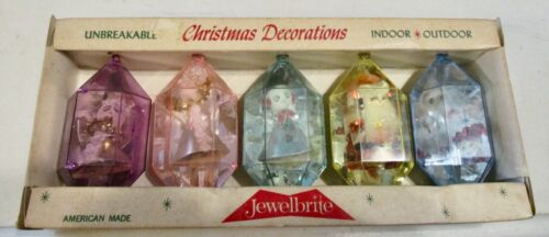 VTG JEWELBRITE 5 Unbreakable 3D Christmas Ornaments In or Outdoor Original Box