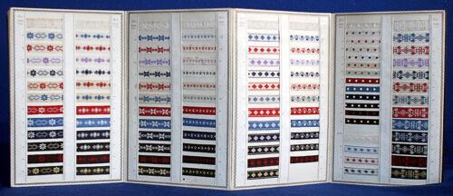 Musterbuch für WÄSCHEBÄNDER mit über 300 Stoffmustern um 1900 ORIGINAL