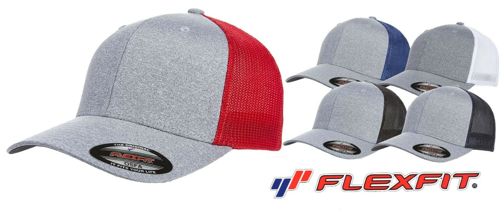 2ebd7836 Flexfit Mélange Stretch Mesh Cap hat baseball blank 5 colors one ...