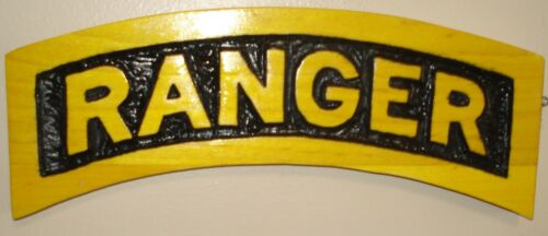 RANGER TAB, wood carving, plaque, airborne, scroll