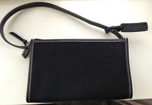 Ralph Lauren classy black small leather and canvas purse