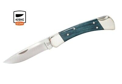 Buck Knives 110 Indigo Blue Nickel Silver Drop Point Folding Hunter 110BLSSH