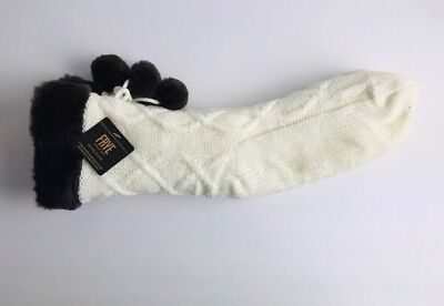 NWT FRYE BOOTS Womens Slipper Socks Pom Pom Sherpa Lined Cable Knit Non Skid Cable Knit Slipper Boots
