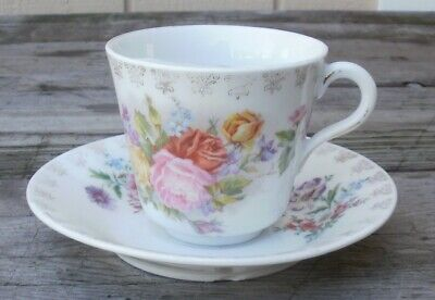 (Antique / Early Mustache Cup With Saucer White with Roses & Gold)