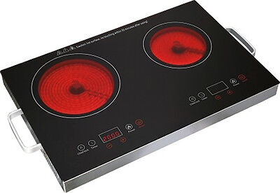 Double Ceramic Hob Portable Digital Electric Hot Plate Infrared Cooker 3200W NEW