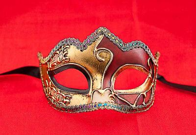 Maske Venedig- Colombine mit -nadel Art Deco Rot - Rot Mit Gold Maske