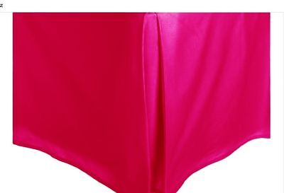 - Pink Solid Silky Satin Bed Skirt Queen Size Dust Ruffle Bedding 14