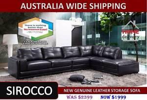Brand New Genuine Leather Storage Sofa Set – Black Salisbury Brisbane South West Preview