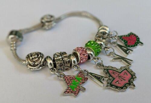NEW AKA Alpha Kappa Alpha Sorority Charm Bracelet