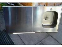 Ikea single sink with large draining board and waste attached