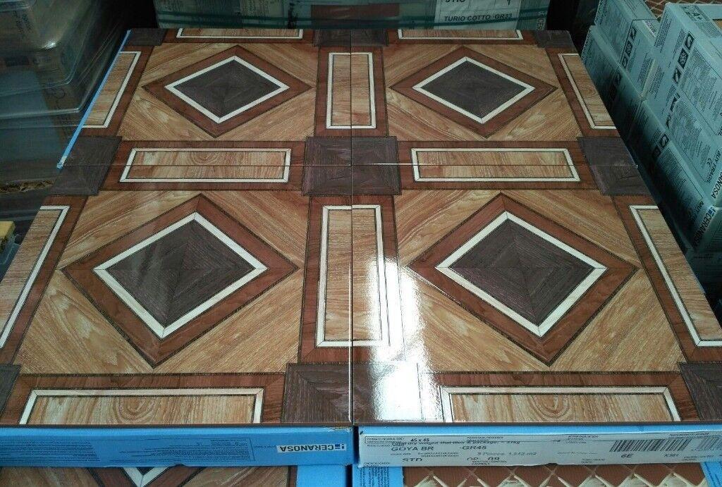 Tiles Job Lot 10 Large Polished Patterned Ceramic Floor 45x45cm 23sqm