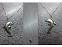Real Genuine 9ct Gold Dolphin Necklace. Ideal Birthday, Anniversary etc gift.