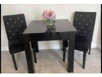 Black gloss dining table & 4 black velvet chairs