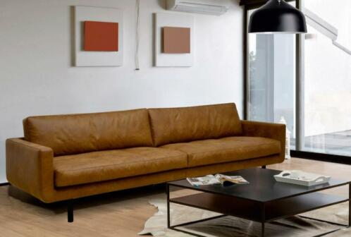 Lounge bank 4 zits 260cm in Bull eco leder cognac