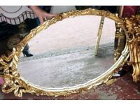 3 x antique gold mirrors