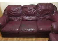 FREE 3 seater Leather Sofa with two Armchairs