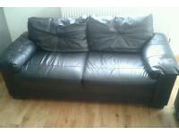 Black Leather Sofas Set Real Leather