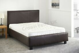***⚫***WE DELIVER ALL OVER LONDON***⚫***Brand New Double Leather Bed with 9inch Deep Quilt Mattress