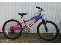 Girls mountain bike, 22 inch wheel, front suspension, 6-speeds