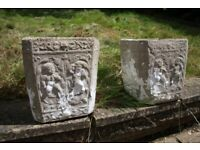 2 vintage 1950s / 1960s stone flower plant pots with embossed cherubs