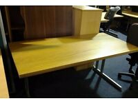 New solid oak office table with adjustable swivel chair, choice of colours available