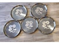 New Stainless steel plate 5 piece set - Floral design