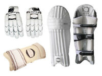 Boys Left Hand Cricket Batting Pads, Batting Gloves, Arm Guard Package RRP £90
