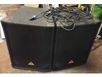 Pair of Behringer Eurolive B1520 Speakers and Neutronic Cables