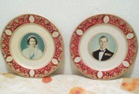 """Pair 10"""" Portland Ware plates; Queen Elizabeth & Prince Philip; 1950s vintage"""