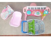 Childs Play Toys - Piano with Stool, 2 Doll carriers, Shopping Cart. Great Fun.