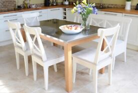 Dining Table with Metal Top and Solid Beech Wood Legs