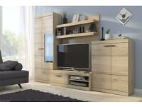 WEST Delivery 1-10 days TV Wall Unit Brand New Modern Set of Living room Furniture in Sanremo Oak
