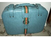Blue Vinyl Suitcase & Shoulder Bag