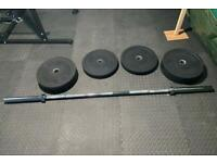 7ft Olympic barbell , bumper plates and dumbbells