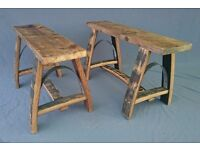 Upcycled oak barrel stave garden patio decking benches