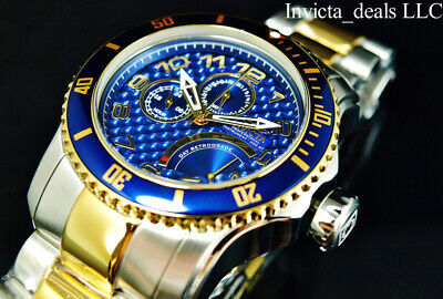 Invicta Men's 48mm Pro Diver SCUBA RENEGADE Blue Dial 18K Gold Two Tone SS Watch