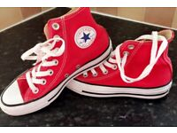 Converse Red High Tops Size 3 Excellent Condition