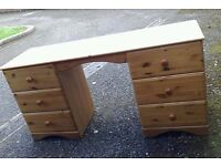 Solid wood pine desk with pull out drawers pedestal - can deliver