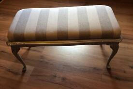 Silver grey stripe solid wooden bench