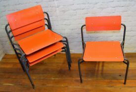 R W Bamforth & Co stacking vintage chairs antique industrial restaurant retro cafe kitchen dining