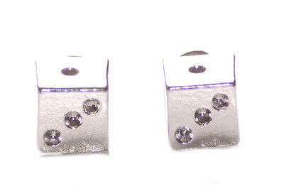 Chrome Pyramid Stud (Adorable & Gorgeous - Dotted Chrome Pyramid & Easy Stud Metal Earrings(Zx261))
