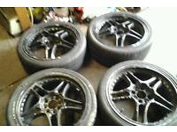 17 inch 4 stud multifit alloy wheels in black fair condition