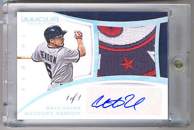 df767b40 2015 Immaculate Collection ANTHONY RENDON Game Used NASTY Logo Patch Auto 1/ 1 !!