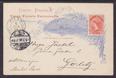 Brazil H G 15E Used 1890 80R Orange Liberty Postal Card To Gorlitz  Germany Vf
