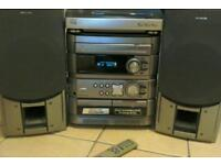 Aiwa 3 CD sound system complete with turntable, radio and twin cassette. Remote Control.