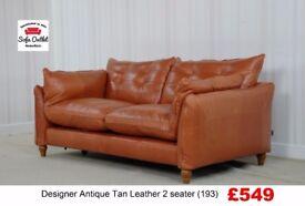 Designer Antique Tan Leather Standard 2 seater (193) £549