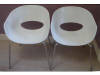 Pair of designer Italian Sintesi Orbit Large white plastic chairs with chrome legs