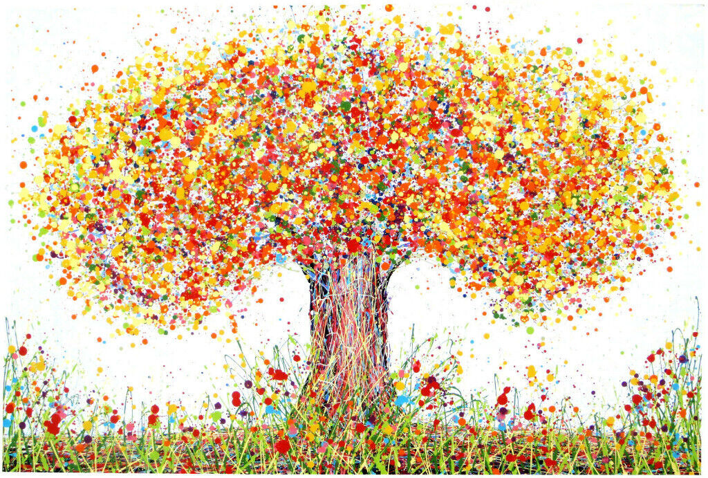 Very Large New Original Abstract Orange Yellow Modern Art Autumn Tree Canvas Painting Free Delivery In Waterloo London Gumtree