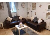 Brown leather compact 3 seater and 2 seater sofas very comfortable modern and stylish