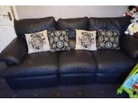 Italian blue leather reclining 3 seater sofa and matching recliner chair